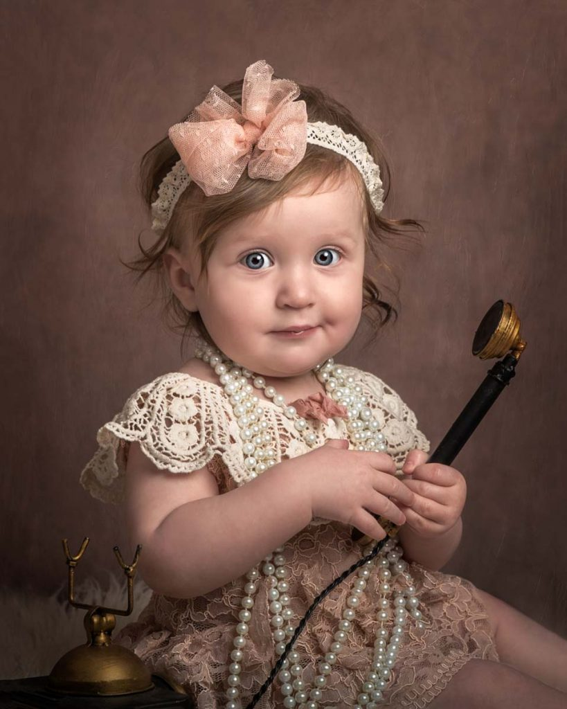 Children photography sitter session vintage style close up
