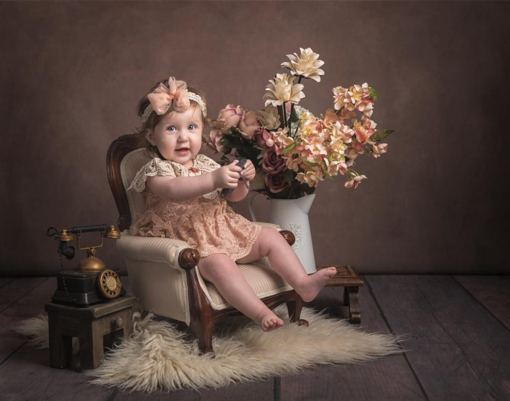 Children photography sitter session vintage style