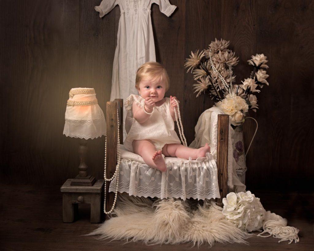 Gorgeous little vintage girl sitter shoot