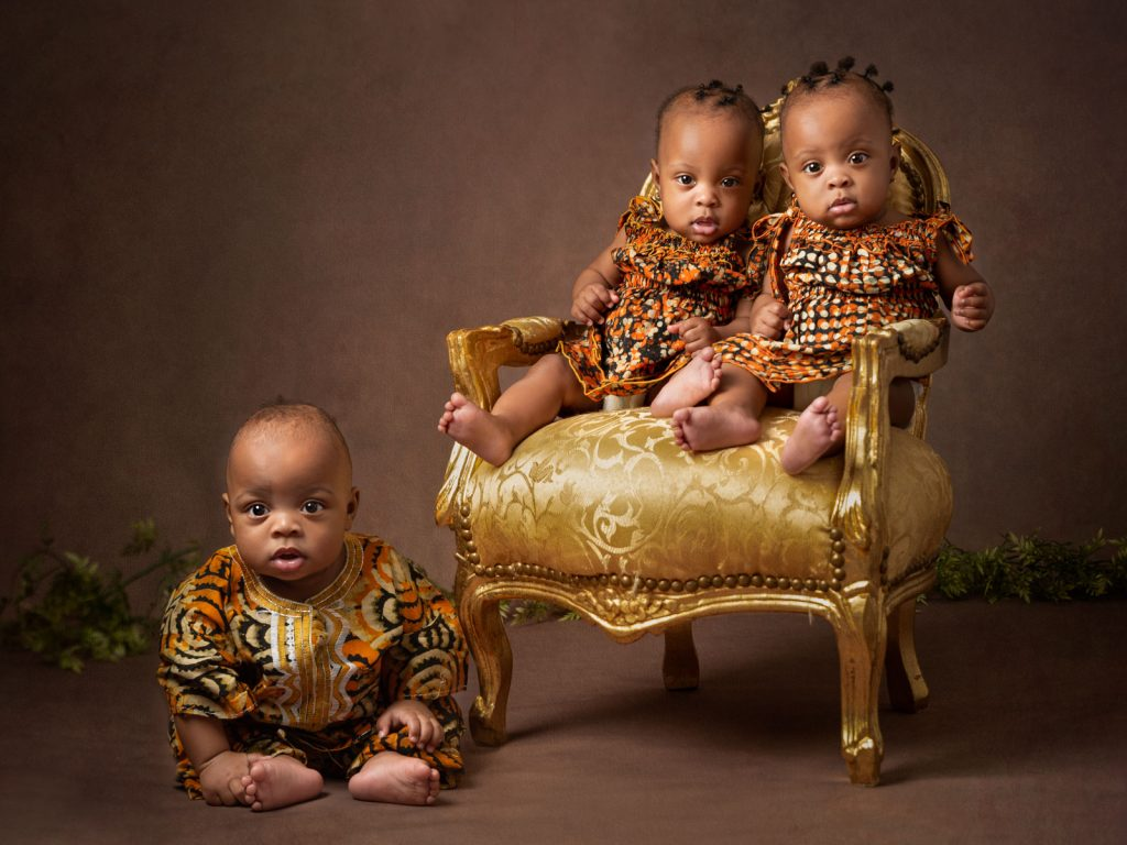 triplets baby sitter session photography