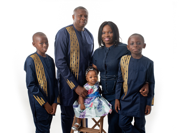 whole family dressed in traditional clothing