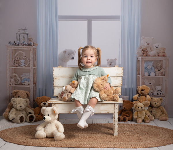 teddy bear nursery and lovely girl photoshoot