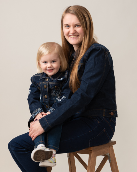 mother and daughter denim outfits