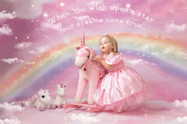 princess girl with unicorn themed photoshoot