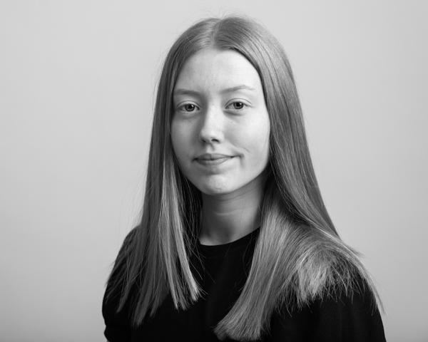 black and white photo headshot of model